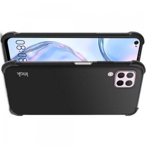 IMAK Shockproof силиконовый защитный чехол для Huawei P40 Lite черный и защитная пленка