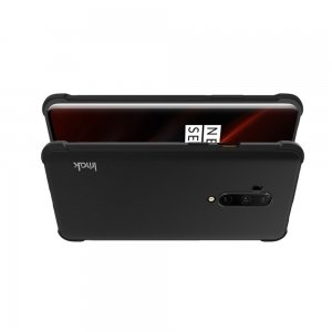 IMAK Shockproof силиконовый защитный чехол для OnePlus 7T Pro черный и защитная пленка