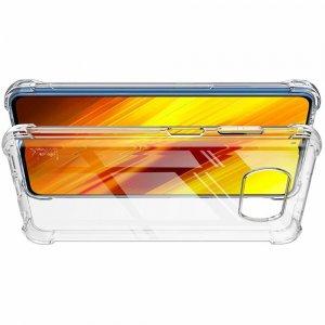 силиконовый защитный чехол для Xiaomi Poco X3 NFC прозрачный и защитная пленка
