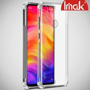 IMAK Shockproof силиконовый защитный чехол для Xiaomi Redmi Note 7 / Note 7 Pro прозрачный и защитная пленка