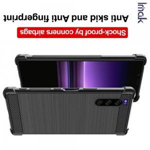 IMAK VEGA Матовый силиконовый чехол для Sony Xperia 5 с противоударными углами черный