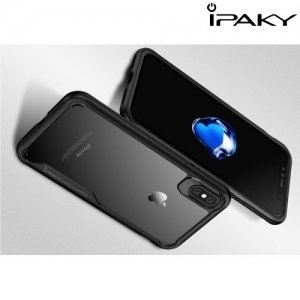 IPAKY Hybrid Прозрачный чехол с силиконовым бампером для iPhone 8 - Черный
