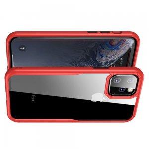 iPaky Hybrid прозрачный двухкомпонентный пластиковый чехол для iPhone 11 Pro - красная силиконовая рамка