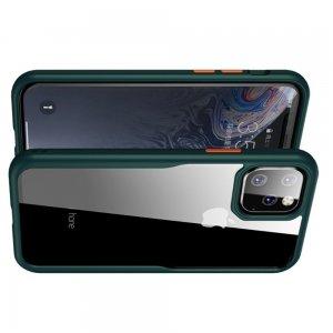 iPaky Hybrid прозрачный двухкомпонентный пластиковый чехол для iPhone 11 Pro Max - зеленая силиконовая рамка