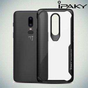 iPaky Hybrid прозрачный двухкомпонентный пластиковый чехол для OnePlus 6 - черная силиконовая рамка