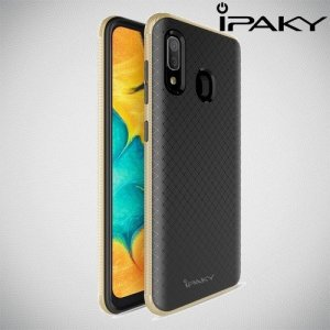 IPAKY Yuyan Series противоударный силиконовый чехол для Samsung Galaxy A30 / A20 с золотой рамкой