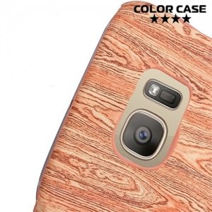 Кейс накладка с отделением для карты на Samsung Galaxy S7 Edge - Красные цветы
