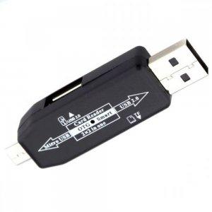 Компактный картридер 2 в 1 с USB и micro USB и слотами для чтения USB и Micro SD карт CR03