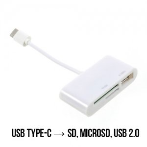OTG конвертер переходник 3в1 USB Type-C в SD, MicroSD, USB