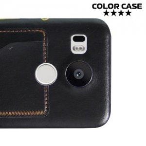 Кожаный кейс накладка с подставкой на LG Nexus 5X - Черный