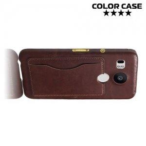 Кожаный кейс накладка с подставкой на LG Nexus 5X - Коричневый