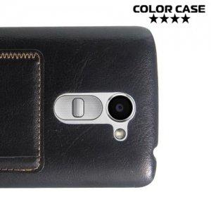 Кожаный кейс накладка с подставкой на LG Ray X190 - Черный