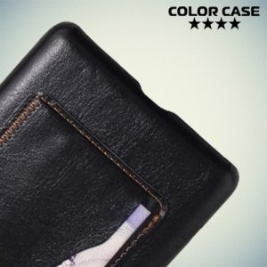Кожаный кейс накладка с подставкой на Sony Xperia C5 Ultra - Черный