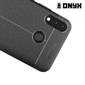 Leather Litchi силиконовый чехол накладка для Asus Zenfone Max Pro M2 ZB631KL - Черный