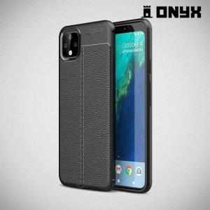 Leather Litchi силиконовый чехол накладка для Google Pixel 4 XL - Черный