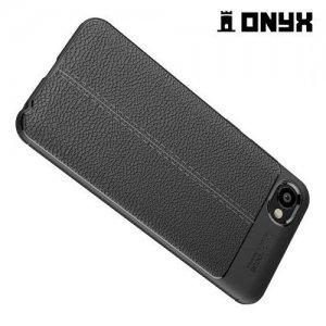 Leather Litchi силиконовый чехол накладка для HTC Desire 12 - Черный