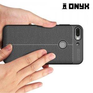 Leather Litchi силиконовый чехол накладка для HTC Desire 12 Plus - Черный