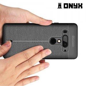 Leather Litchi силиконовый чехол накладка для HTC U12 Plus - Черный