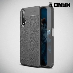 Leather Litchi силиконовый чехол накладка для Huawei Nova 5T - Черный
