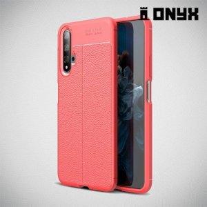Leather Litchi силиконовый чехол накладка для Huawei Nova 5T - Коралловый