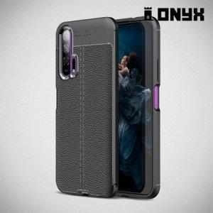 Leather Litchi силиконовый чехол накладка для Huawei Honor 20 Pro - Черный