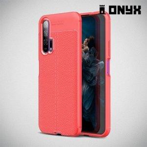 Leather Litchi силиконовый чехол накладка для Huawei Honor 20 Pro - Коралловый
