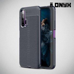 Leather Litchi силиконовый чехол накладка для Huawei Honor 20 Pro - Синий