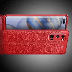 Leather Litchi силиконовый чехол накладка для Huawei Honor 30 Pro - Красный
