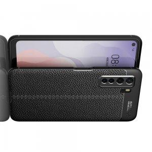 Leather Litchi силиконовый чехол накладка для Huawei Honor 30S - Черный