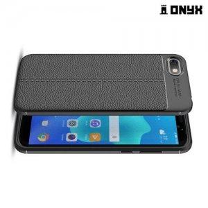 Leather Litchi силиконовый чехол накладка для Huawei Honor 7A / Y5 Prime 2018 - Черный
