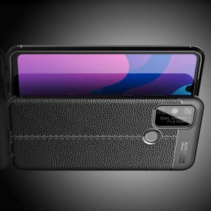 Leather Litchi силиконовый чехол накладка для Huawei Honor 9A - Черный