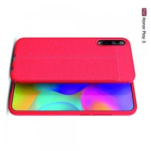Leather Litchi силиконовый чехол накладка для Huawei Honor Play 3 - Красный