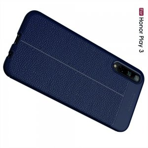 Leather Litchi силиконовый чехол накладка для Huawei Honor Play 3 - Синий