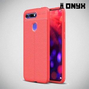 Leather Litchi силиконовый чехол накладка для Huawei Honor View 20 (V20) - Коралловый
