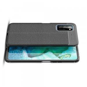 Leather Litchi силиконовый чехол накладка для Huawei Honor View 30 - Черный