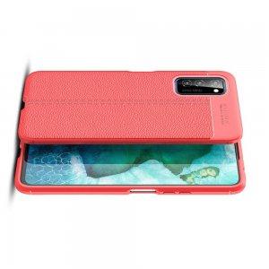 Leather Litchi силиконовый чехол накладка для Huawei Honor View 30 - Красный