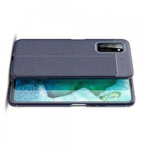 Leather Litchi силиконовый чехол накладка для Huawei Honor View 30 - Синий