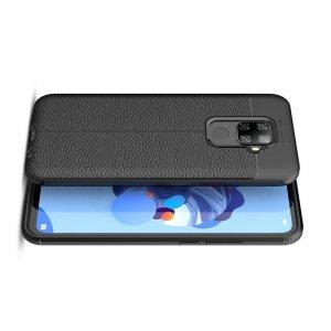 Leather Litchi силиконовый чехол накладка для Huawei Mate 30 Lite - Черный