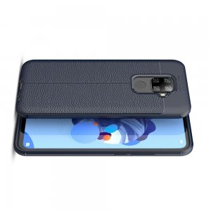 Leather Litchi силиконовый чехол накладка для Huawei Mate 30 Lite - Синий