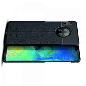 Leather Litchi силиконовый чехол накладка для Huawei Mate 30 Pro - Черный