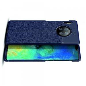 Leather Litchi силиконовый чехол накладка для Huawei Mate 30 Pro - Синий