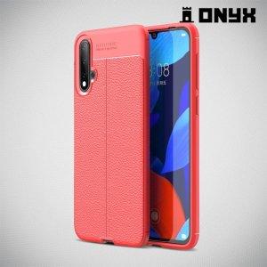 Leather Litchi силиконовый чехол накладка для Huawei nova 5 - Коралловый
