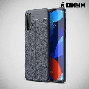Leather Litchi силиконовый чехол накладка для Huawei nova 5 - Синий