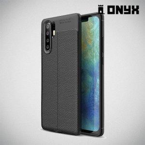 Leather Litchi силиконовый чехол накладка для Huawei P30 Pro - Черный