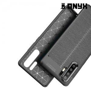 Leather Litchi силиконовый чехол накладка для Huawei P30 Pro - Коралловый