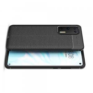 Leather Litchi силиконовый чехол накладка для Huawei P40 - Черный