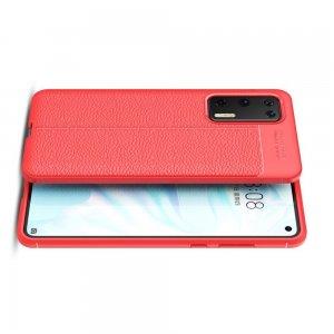 Leather Litchi силиконовый чехол накладка для Huawei P40 - Красный