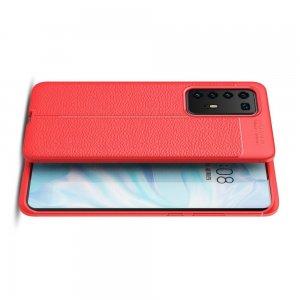 Leather Litchi силиконовый чехол накладка для Huawei P40 Pro - Красный