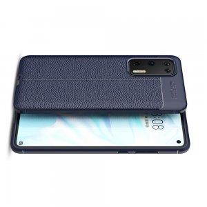 Leather Litchi силиконовый чехол накладка для Huawei P40 - Синий