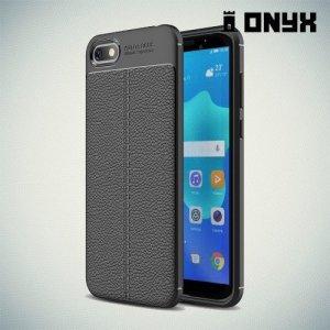 Leather Litchi силиконовый чехол накладка для Huawei Y5 Prime 2018 - Черный